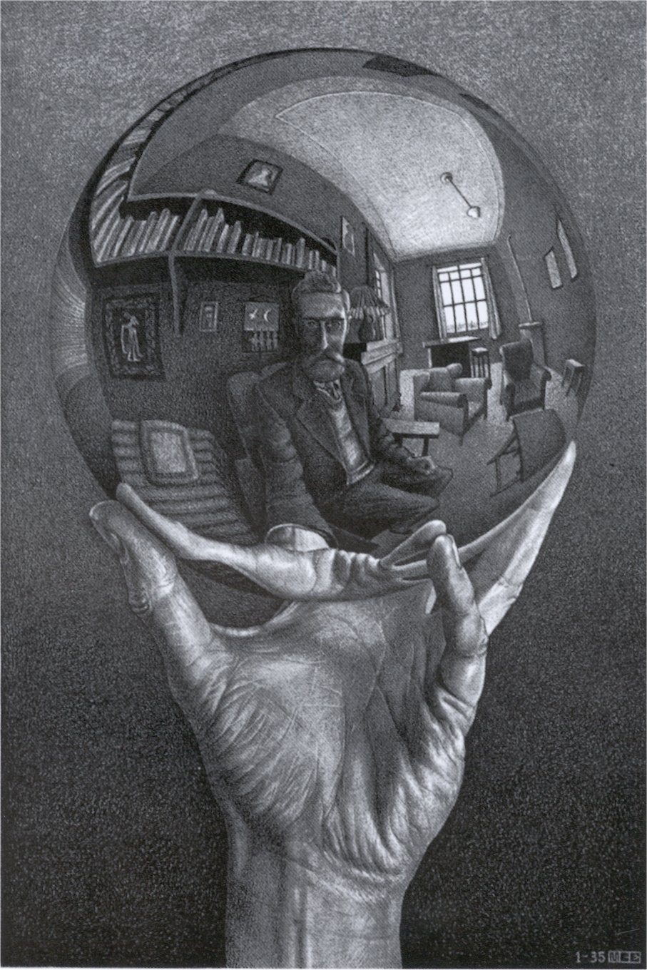 Showcase your favorite artist Hand-with-reflecting-sphere-1935-lithograph