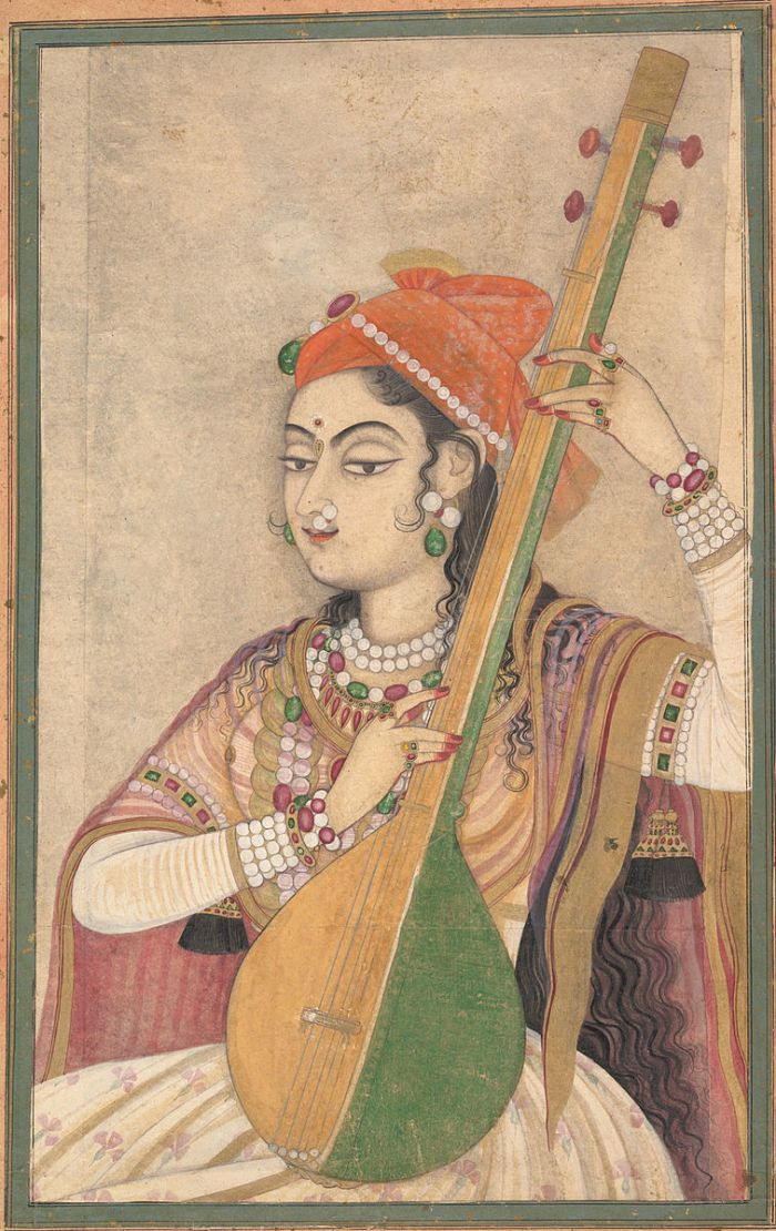 A_Lady_Playing_the_Tanpura,_ca._1735
