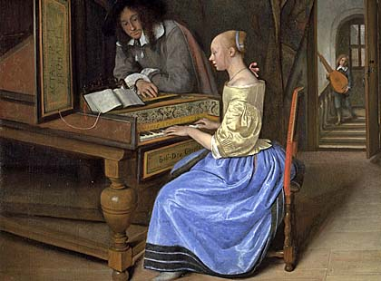 Jan Steen, A Young Woman playing a Harpsichord to a Young Man (probably 1659).jpg